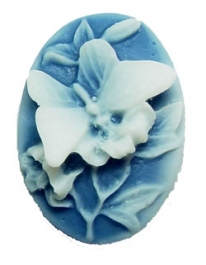 25x18mm Oval Fashion Cameo - Butterfly and Lilies - Pack of 2