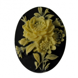 40x30mm Oval Fashion Flower Cameo