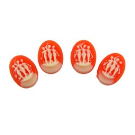 18x13mm 3 Graces Cameo on Carnelian Background - Pack of 4