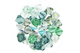 Evergreen--Bicone Crystal Mix - 6mm (1/2 gross)