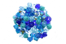 Blue Tones--Bicone Crystal Mix - 8mm (1/4 gross)