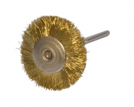 3/4 inch Mounted Brush - Brass, Straight, 3/32 inch Mandrel - Pack of 12