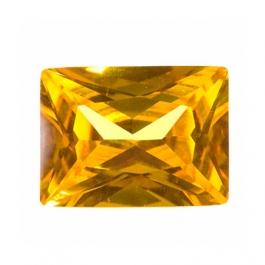 10 x 8mm Rectangle Yellow CZ - Pack of 1