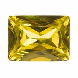 16x12mm Rectangle Peridot CZ - Pack of 1