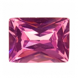 16X12mm Rectangle Pink Rose CZ - Pack of 1