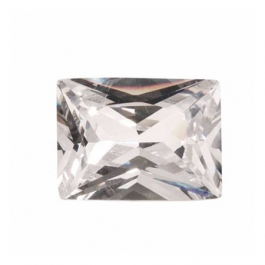 16x12mm Rectangle White CZ - Pack of 1