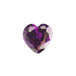 4x4mm Heart Amethyst CZ - Pack of 2