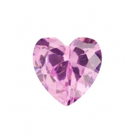 6 x 6mm Heart Pink Rose CZ - Pack of 2