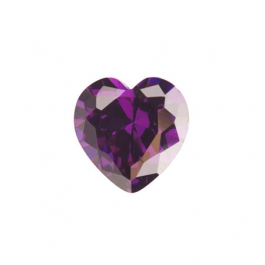 6 x 6mm Heart Amethyst CZ - Pack of 2