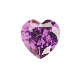 6 x 6mm Heart Light Amethyst CZ - Pack of 2