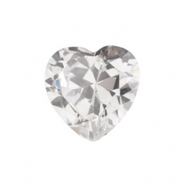 6 x 6mm Heart White CZ - Pack of 2