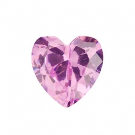 8X8mm Heart Pink Rose CZ - Pack of 1
