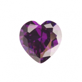 8X8mm Heart Amethyst CZ - Pack of 1
