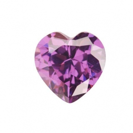 8X8mm Heart Light Amethyst CZ - Pack of 1