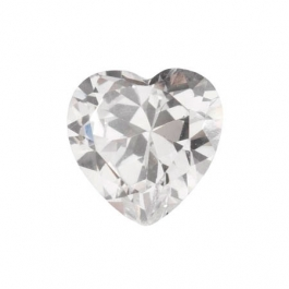8x8mm Heart White CZ - Pack of 1