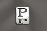 Pewter Alphabet Cubes 5.5MM W/4MM Hole - PW P 5.5MM Cube W/4MM Hole