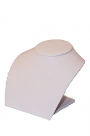 6x5x5 Inch White Faux Leather - Low Profile Neck Bust- Sold Individually