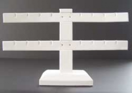 White Faux Leather 2-Bar Multi-Earring Stand