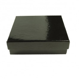 3 1/2 X 3 1/2 X 1 Inch Gloss Black Jewelry Box - Pack of 3