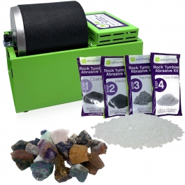 WireJewelry Single Barrel Rotary Rock Tumbler Asia Mix Starter Kit, Includes 1.5 Pounds of Rough Asia Stone Mix and 1 Batch of 4 Step Abrasive Grit and Polish with Plastic Pellets
