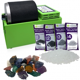 WireJewelry Single Barrel Rotary Rock Tumbler Brazilian Mix Starter Kit, Includes 1.5 Pounds of Rough Brazilian Stone Mix and 1 Batch of 4 Step Abrasive Grit and Polish with Plastic Pellets
