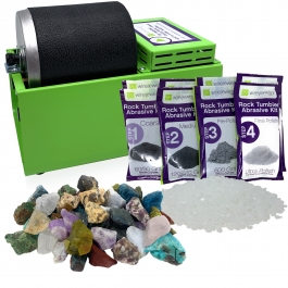 WireJewelry Single Barrel Rotary Rock Tumbler Madagascar Mix Deluxe Kit, Includes 3 Pounds of Rough Madagascar Stone Mix and 2 Batches of 4 Step Abrasive Grit and Polish with Plastic Pellets