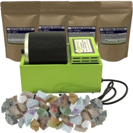 WireJewelry Single Barrel Rotary Rock Tumbler Eco Kit, Includes 3 Pounds of Rough Madagascar Stone Mix and 5 Batches of 4 Step Abrasive Grit and Polish