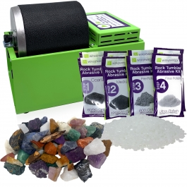 WireJewelry Single Barrel Rotary Rock Tumbler Brazilian Mix Deluxe Kit, Includes 3 Pounds of Rough Brazilian Stone Mix and 2 Batches of 4 Step Abrasive Grit and Polish with Plastic Pellets