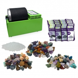 WireJewelry Single Barrel Rotary Rock Tumbler World Mix Deluxe Kit, Includes 3 Lbs of Stone from each Location (Asia, Brazil and Madagascar) and 6 Batches of 4 Step Grit & Polish with Plastic Pellets