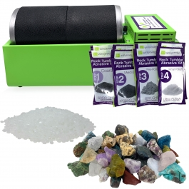 WireJewelry Double Barrel Rotary Rock Tumbler Madagascar Mix Deluxe Kit, Includes 3 Pounds of Rough Madagascar Stone Mix and 2 Batches of 4 Step Abrasive Grit and Polish with Plastic Pellets