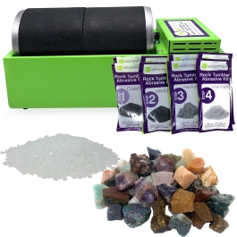 WireJewelry Double Barrel Rotary Rock Tumbler Asia Mix Deluxe Kit, Includes 3 Pounds of Rough Asia Stone Mix and 2 Batches of 4 Step Abrasive Grit and Polish with Plastic Pellets