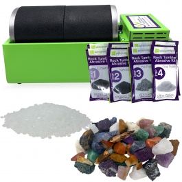 WireJewelry Double Barrel Rotary Rock Tumbler Brazilian Mix Deluxe Kit, Includes 3 Pounds of Rough Brazilian Stone Mix and 2 Batches of 4 Step Abrasive Grit and Polish with Plastic Pellets