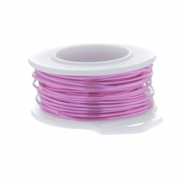30 Gauge Round Silver Plated Hot Pink Copper Craft Wire - 90 ft