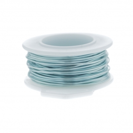 24 Gauge Round Silver Plated Baby Blue Copper Craft Wire - 30 ft