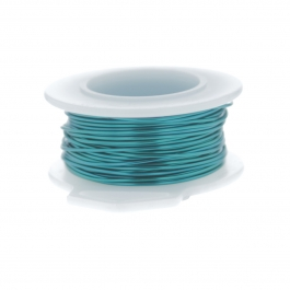 26 Gauge Round Silver Plated Peacock Blue Copper Craft Wire - 45 ft