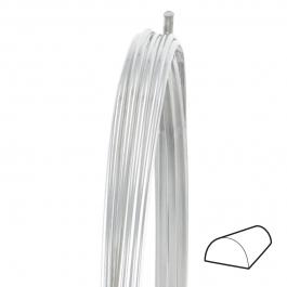 22 Gauge Half Round Half Hard Argentium .930 Silver Wire - 1 FT