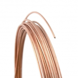 20 Gauge Round Half Hard 14/20 Rose Gold Filled Wire - 1 FT