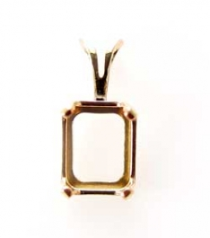9x7mm Gold Filled Octagon Snapset Pendant for Faceted Gemstone - Pack of 1