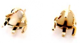 4x4mm Gold Filled Heart Stud Snapset for Faceted Gemstone - Pack of 2