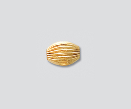 Gold Filled Bead Corrugated Oval 5.5x7.5 mm - Pack of 1