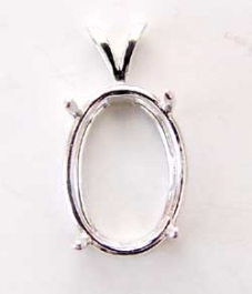 16x12mm Oval Sterling Silver Pendant Setting for Cabochon/Cameo - Pack of 1