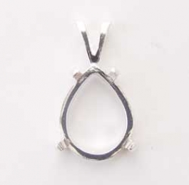 18x13mm Sterling Silver Pear Pendant Setting for Cabochon - Pack of 1
