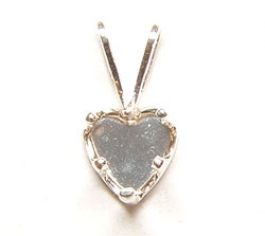 4x4mm Sterling Silver Heart Pendant Snapset with Bail for Faceted Gemstone - Pack of 1