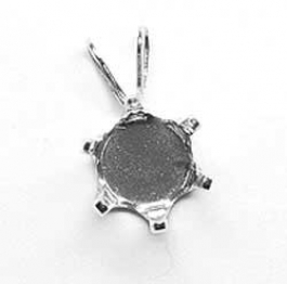 6mm Round Sterling Silver Snapset Pendant for Faceted Gemstones - Pack of 1