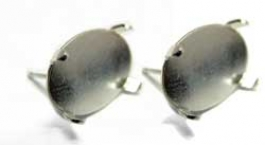 14x10mm Oval Sterling Earring Setting for Cabochon/Cameo - Pack of 2