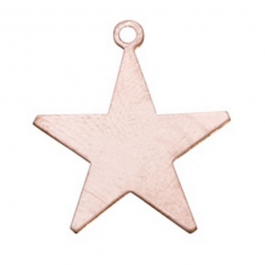 Copper Shape, Star with Ring, 1 inch, 6 Pieces