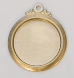 Brass Framed Circle with Ring, 24 Gauge, 17 Millimeter, Pack of 6