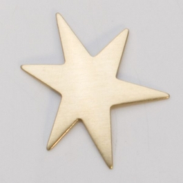 Brass Funky Star, 24 Gauge, 1-1/8 Inch, Pack of 6