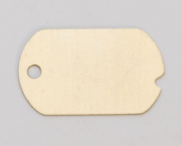 Brass Dog Tag with Hole, 24 Gauge, 1-1/4 by 3/4 Inch, Pack of 6