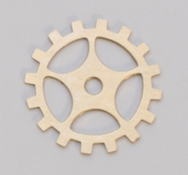 Brass Gear with Spoke, 24 Gauge, 3/4 Inch, Pack of 6